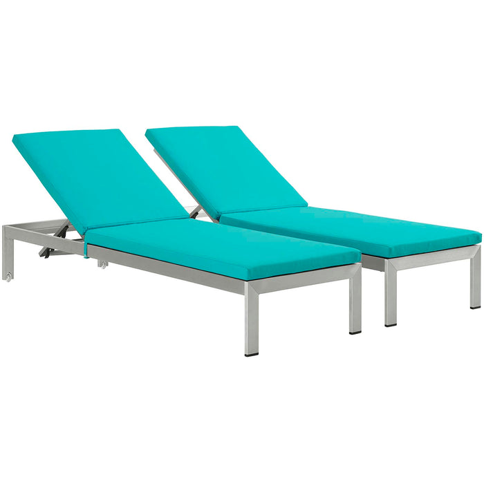 Shore Chaise with Cushions Outdoor Patio Aluminum Set of 2 in Silver Turquoise by Modway