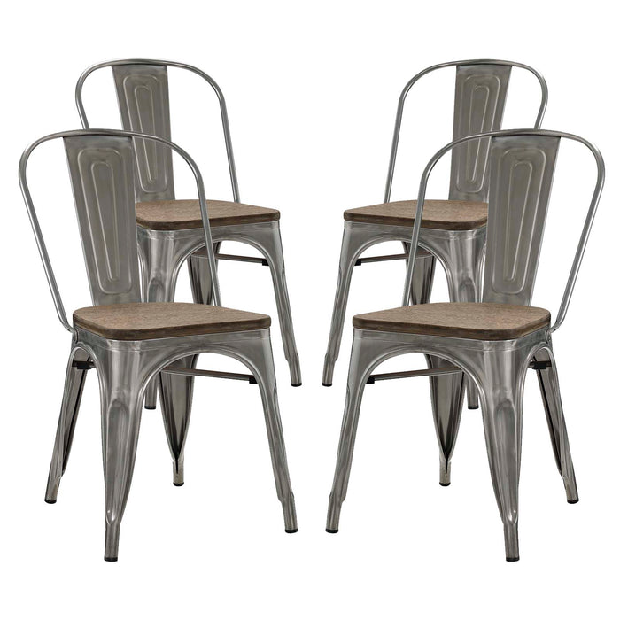 Modway Promenade Dining Side Chair Set of 4 in GunMetal