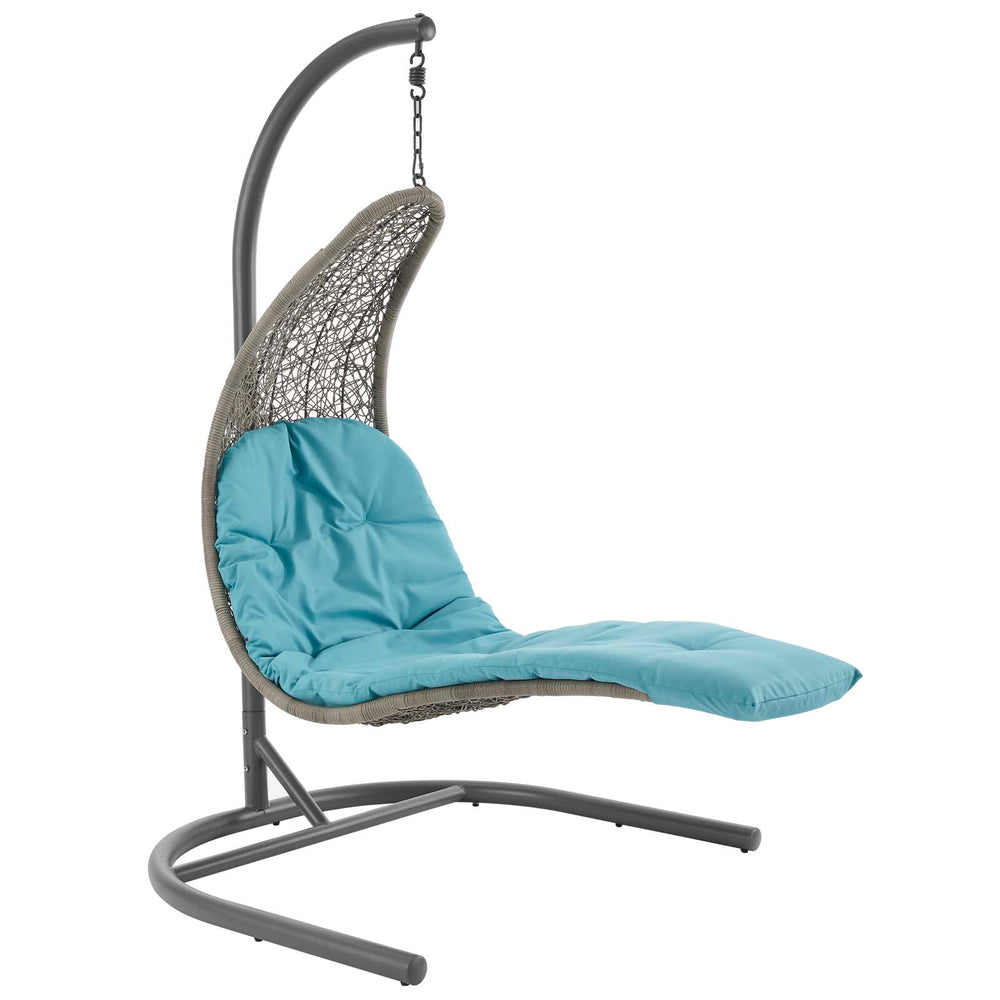 Modway Landscape Hanging Chaise Lounge Outdoor Patio Swing Chair in Light Gray Turquoise