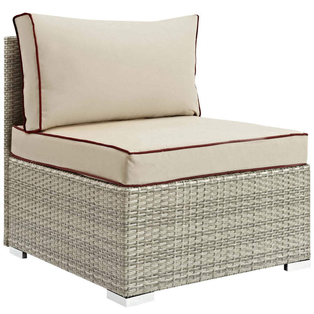 Modway Repose Outdoor Patio Armless Chair in Light Gray Beige