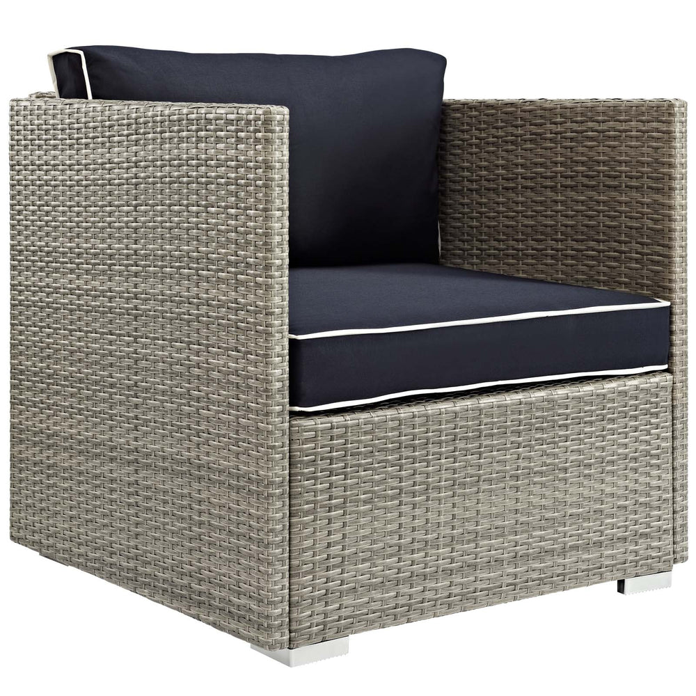 Modway Repose Outdoor Patio Armchair in Light Gray Navy