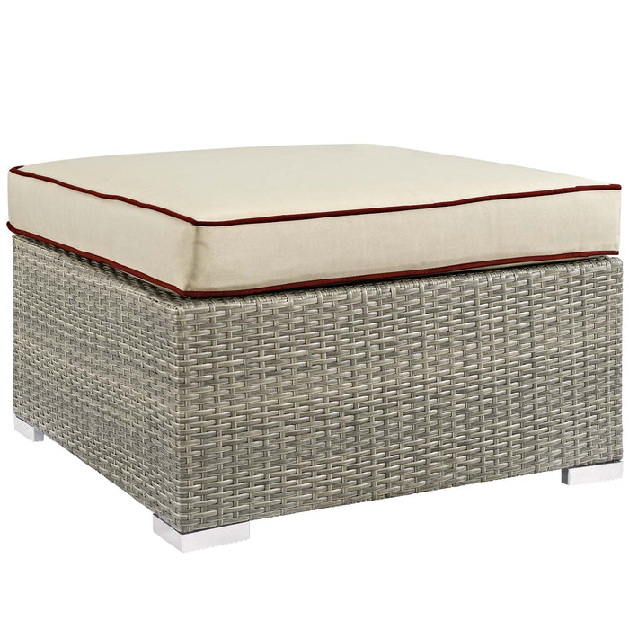 Modway Repose Outdoor Patio Upholstered Fabric Ottoman in Light Gray Beige