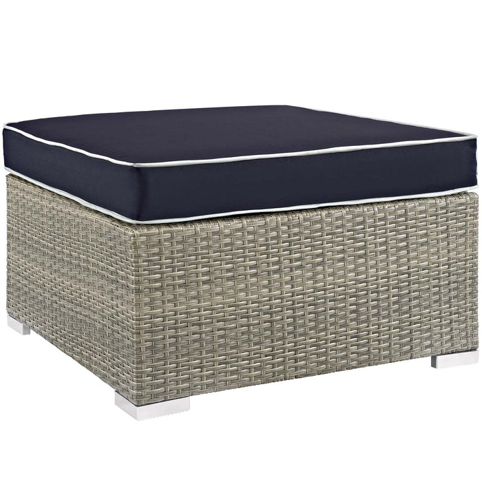 Modway Repose Outdoor Patio Upholstered Fabric Ottoman in Light Gray Navy
