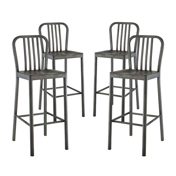 Modway Clink Bar Stool Metal Set of 4 in Silver