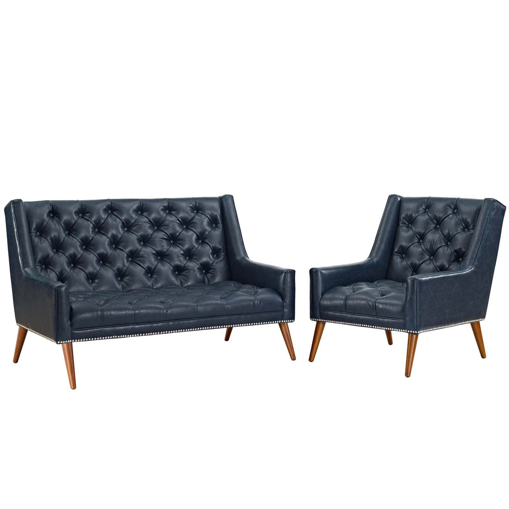 Modway Peruse Living Room Set Faux Leather Set of 2 in Blue