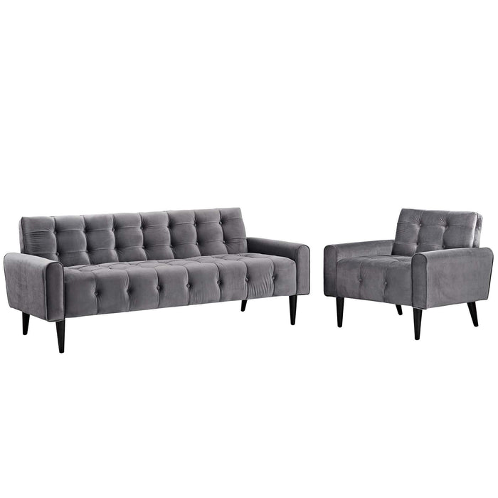 Modway Delve Living Room Set Velvet Set of 2 in Gray