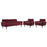 Modway Delve Living Room Set Velvet Set of 3 in Maroon