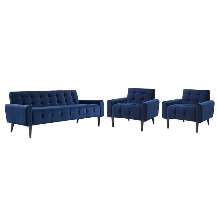 Modway Delve Living Room Set Velvet Set of 3 in Navy
