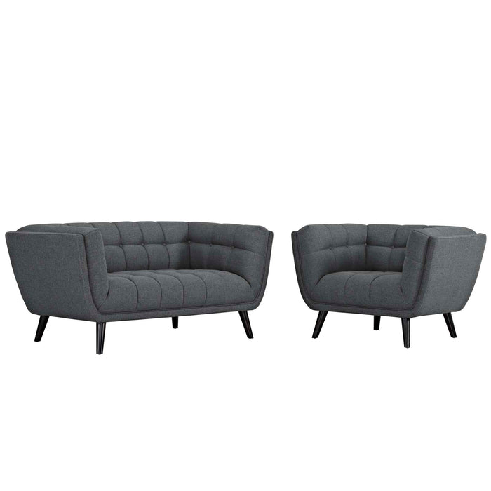 Modway Bestow 2 Piece Upholstered Fabric Loveseat and Armchair Set in Gray