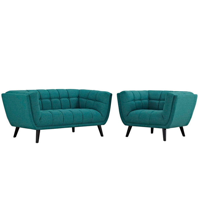 Modway Bestow 2 Piece Upholstered Fabric Loveseat and Armchair Set in Teal