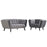 Modway Bestow 2 Piece Velvet Loveseat and Armchair Set in Gray