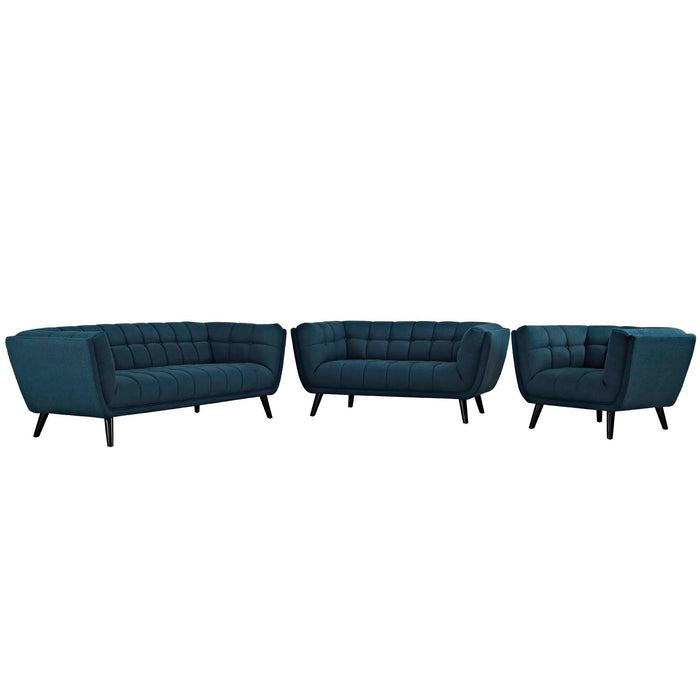 Modway Bestow 3 Piece Upholstered Fabric Sofa Loveseat and Armchair Set in Blue