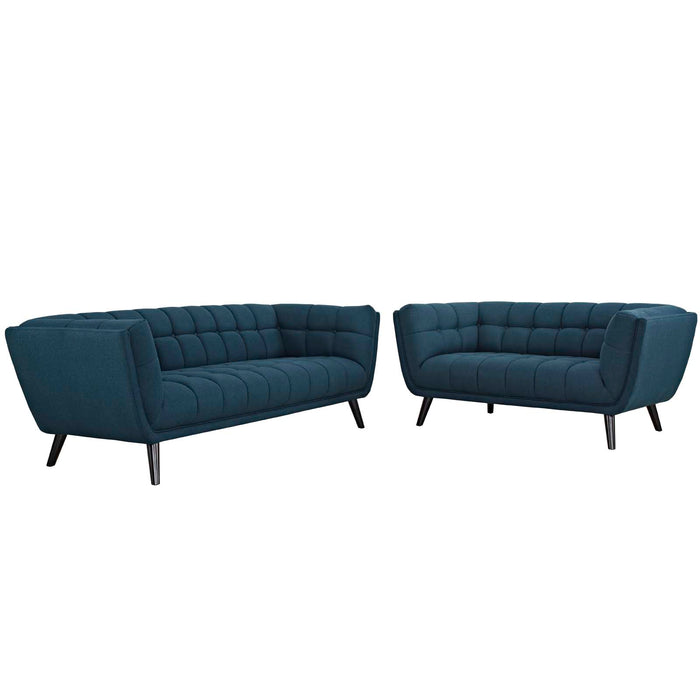 Modway Bestow 2 Piece Upholstered Fabric Sofa and Loveseat Set in Blue