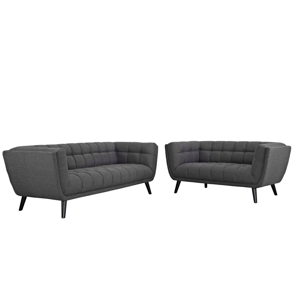 Modway Bestow 2 Piece Upholstered Fabric Sofa and Loveseat Set in Gray