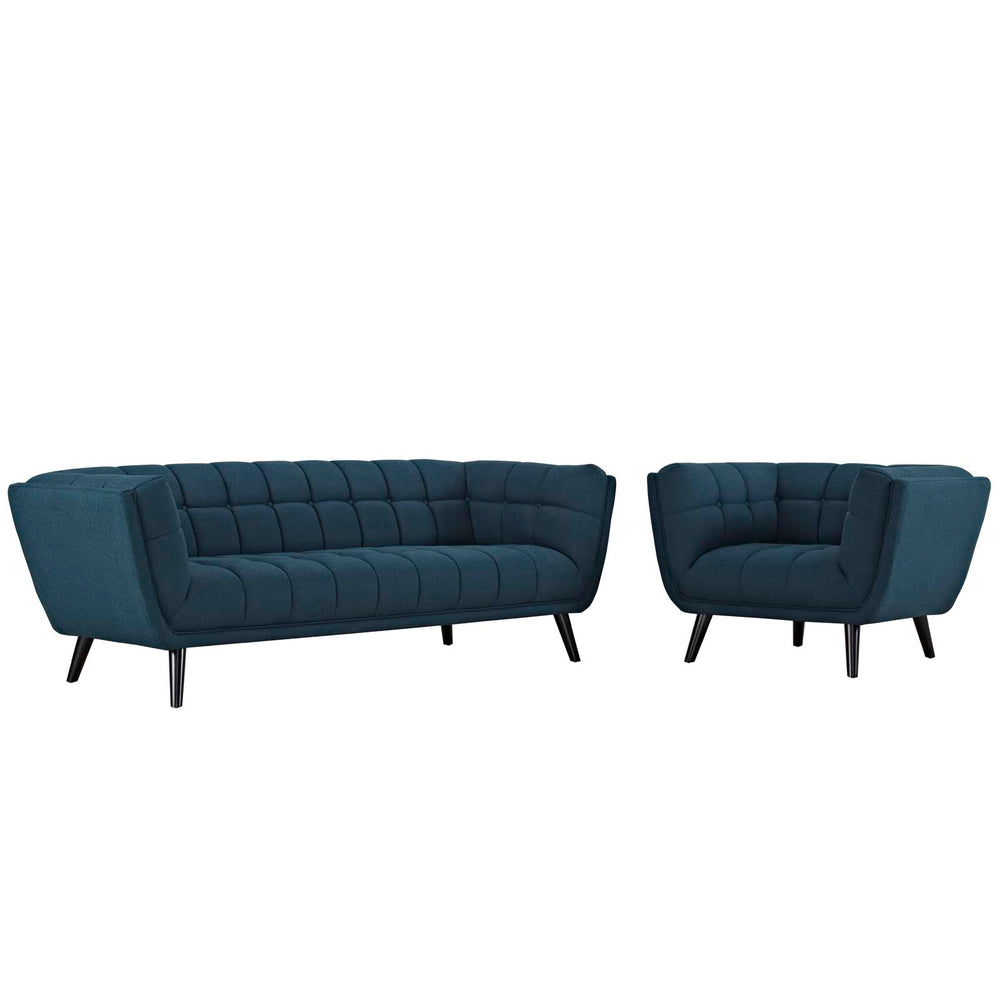 Modway Bestow 2 Piece Upholstered Fabric Sofa and Armchair Set in Blue