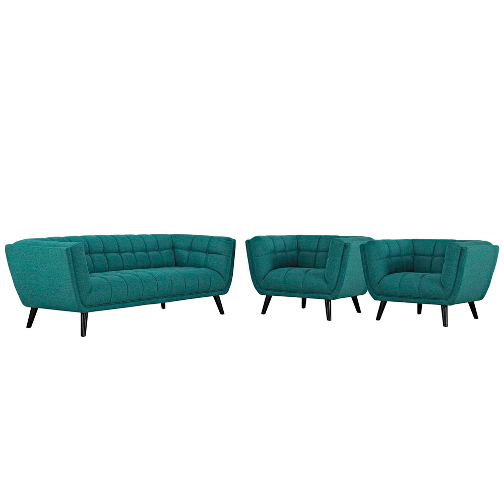 Modway Bestow 3 Piece Upholstered Fabric Sofa and Armchair Set in Teal