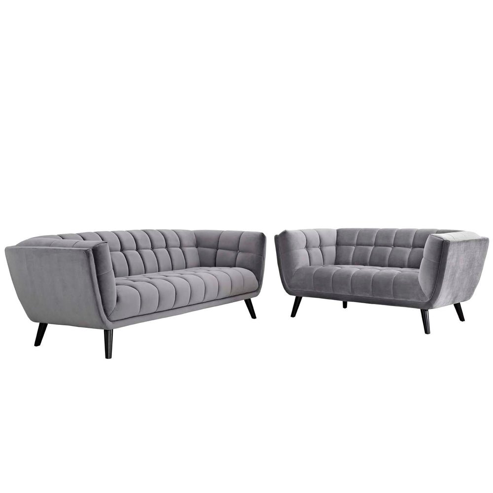 Modway Bestow 2 Piece Velvet Sofa and Loveseat Set in Gray
