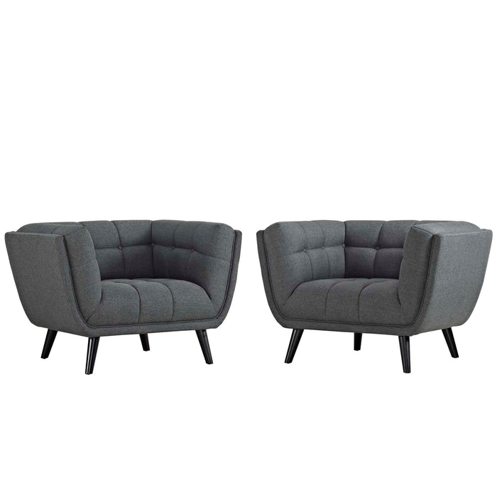Modway Bestow 2 Piece Upholstered Fabric Armchair Set in Gray