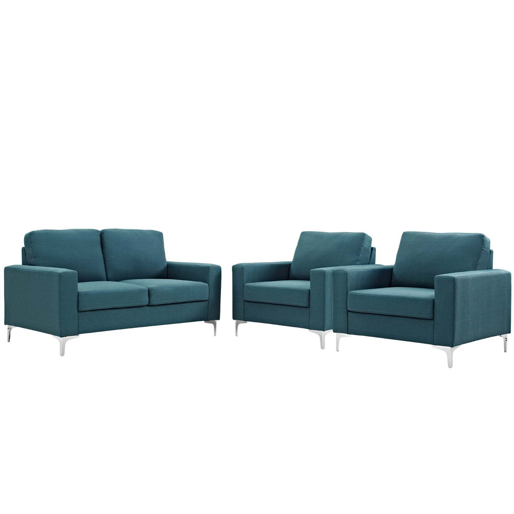 Modway Allure 3 Piece Sofa and Armchair Set in Blue
