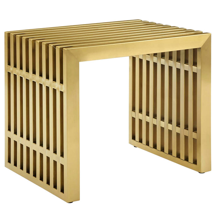 Modway Gridiron Small Stainless Steel Bench in Gold