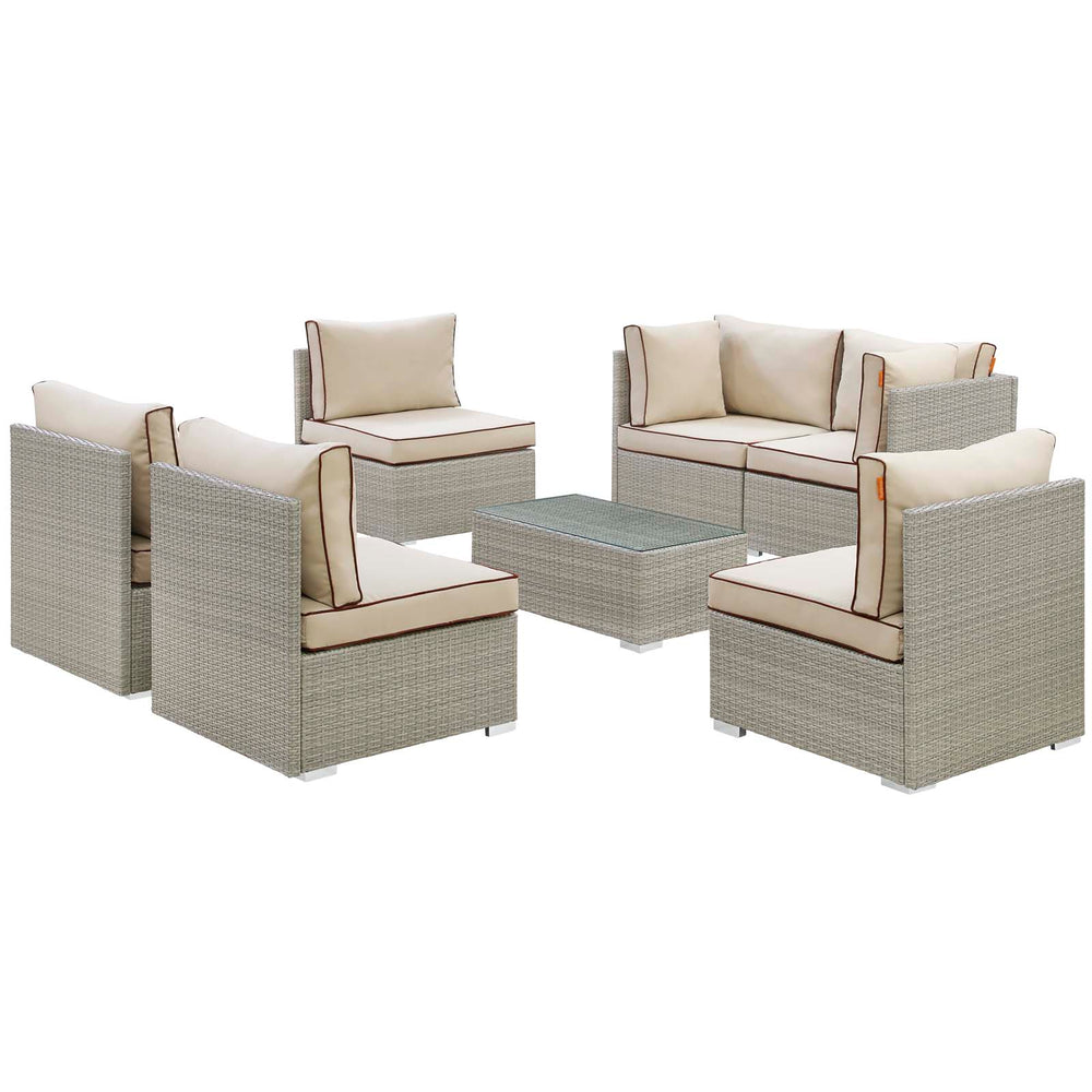 Modway Repose 7 Piece Outdoor Patio Sectional Set in Light Gray Beige