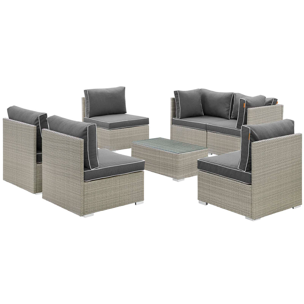 Modway Repose 7 Piece Outdoor Patio Sectional Set in Light Gray Charcoal