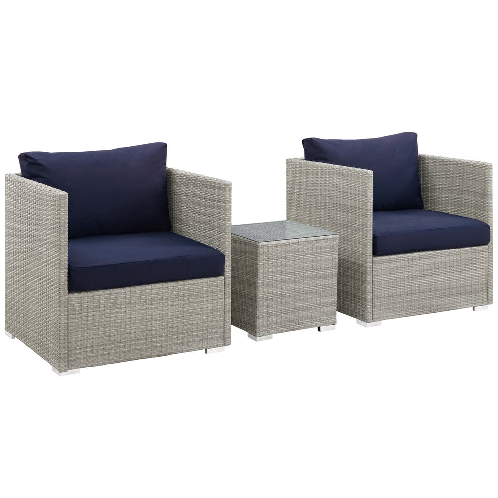 Modway Repose 3 Piece Outdoor Patio Sunbrella Sectional Set in Light Gray Navy