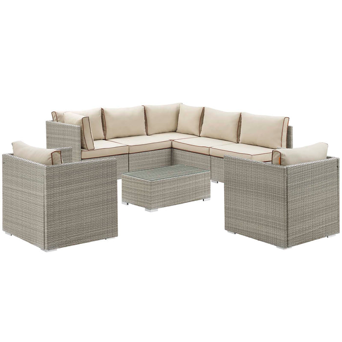 Modway Repose 8 Piece Outdoor Patio Sectional Set in Light Gray Beige