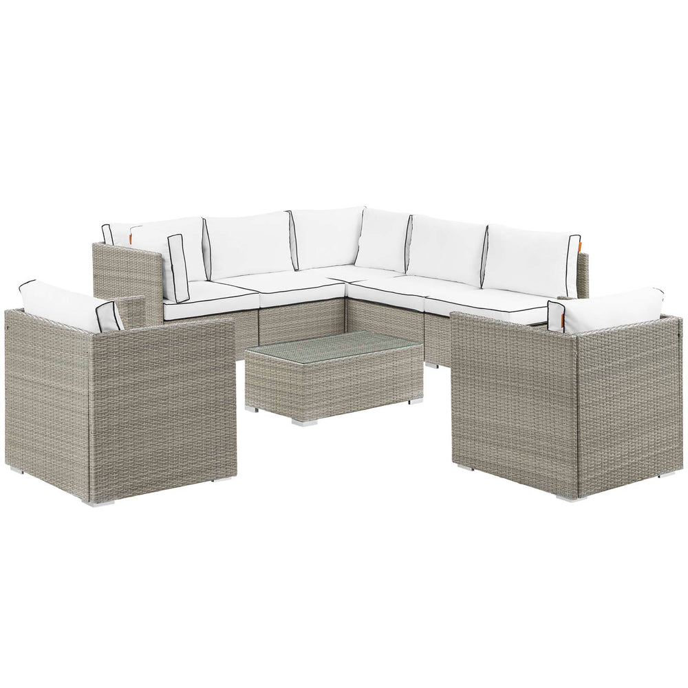 Modway Repose 8 Piece Outdoor Patio Sectional Set in Light Gray White