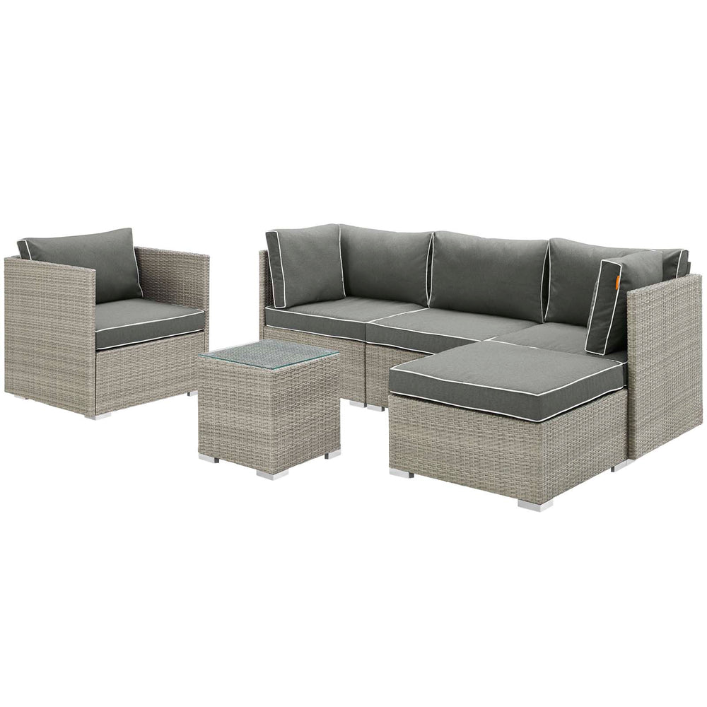 Modway Repose 6 Piece Outdoor Patio Sectional Set in Light Gray Charcoal
