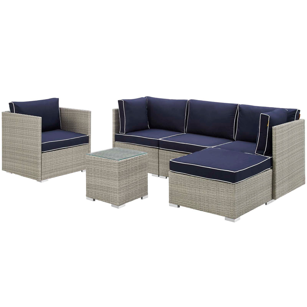 Modway Repose 6 Piece Outdoor Patio Sectional Set in Light Gray Navy