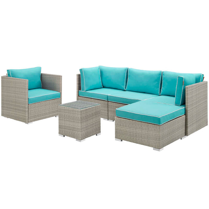 Modway Repose 6 Piece Outdoor Patio Sectional Set in Light Gray Turquoise