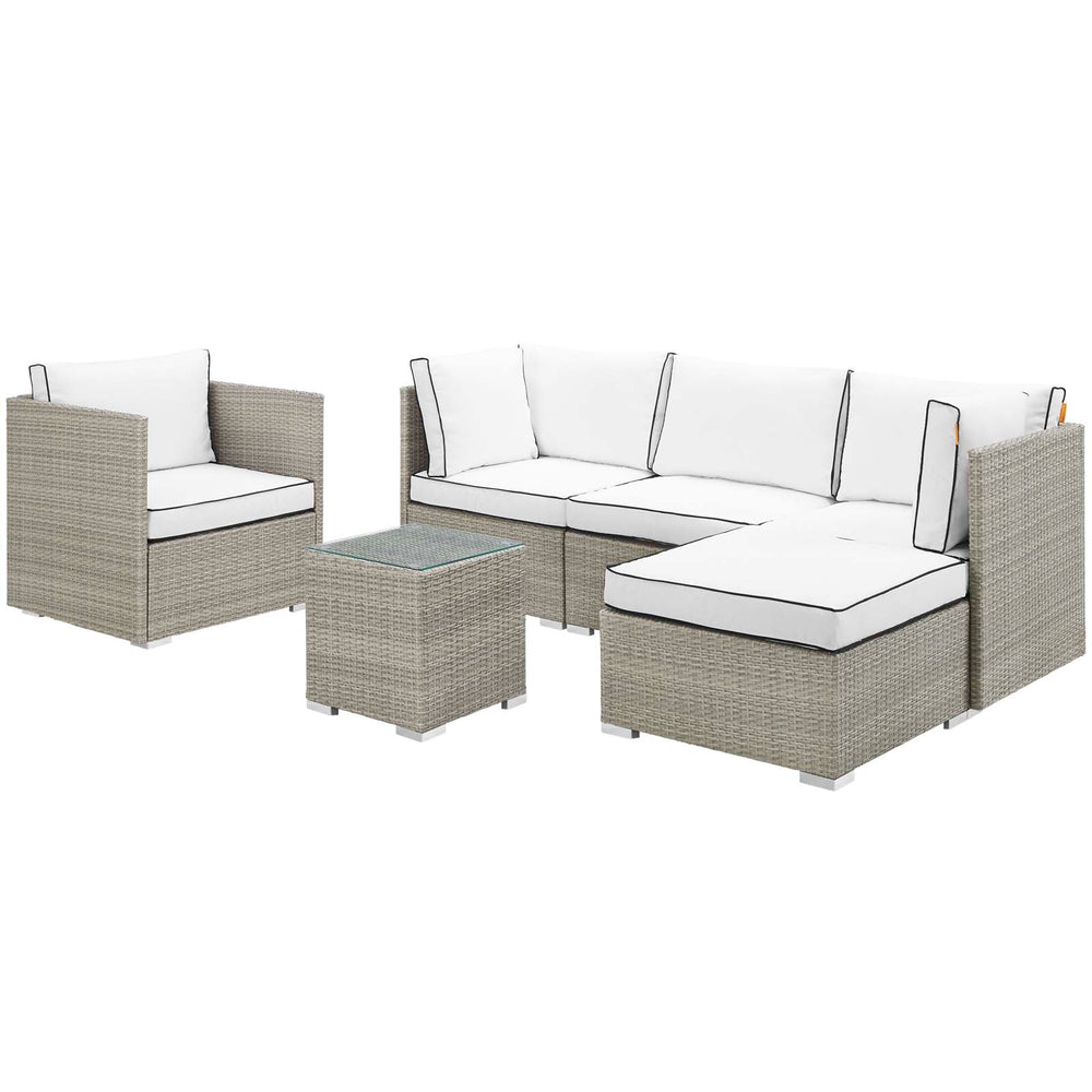 Modway Repose 6 Piece Outdoor Patio Sectional Set in Light Gray White