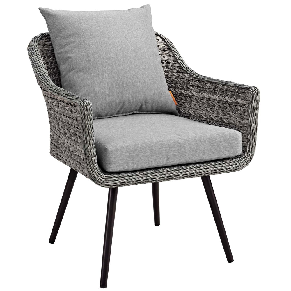 Modway Endeavor Outdoor Patio Wicker Rattan Armchair in Gray Gray