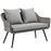 Modway Endeavor Outdoor Patio Wicker Rattan Loveseat in Gray Gray