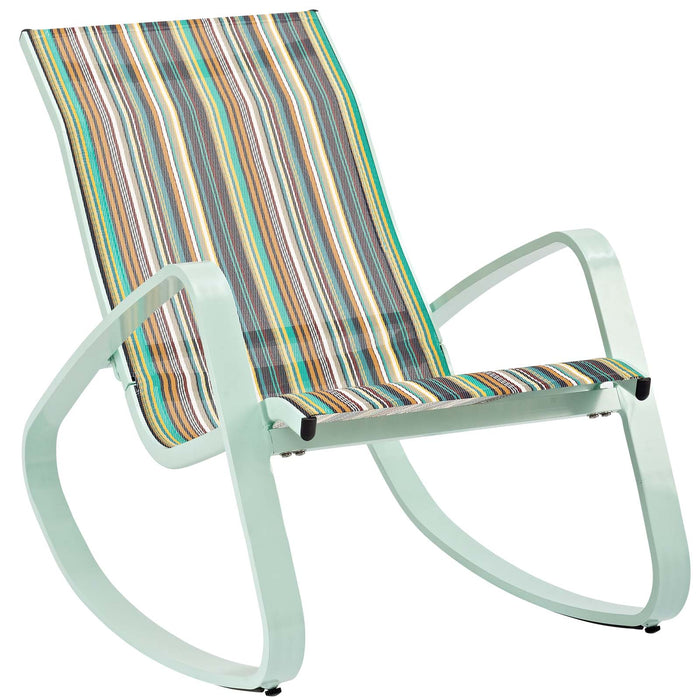 Modway Traveler Rocking Outdoor Patio Mesh Sling Lounge Chair in Green Stripe