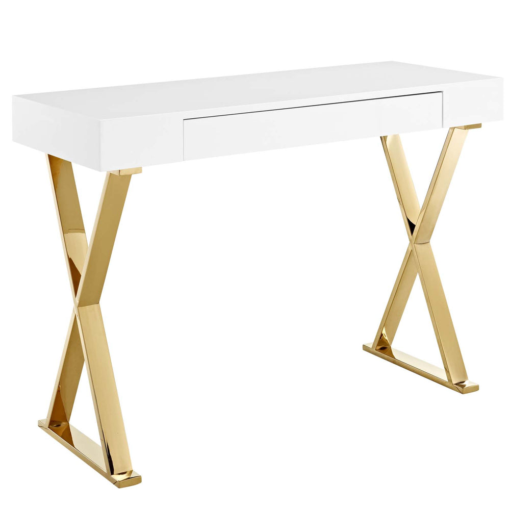 Modway Sector Console Table in White Gold