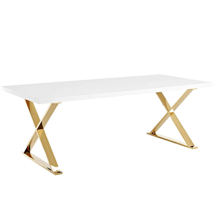Modway Sector Dining Table in White Gold