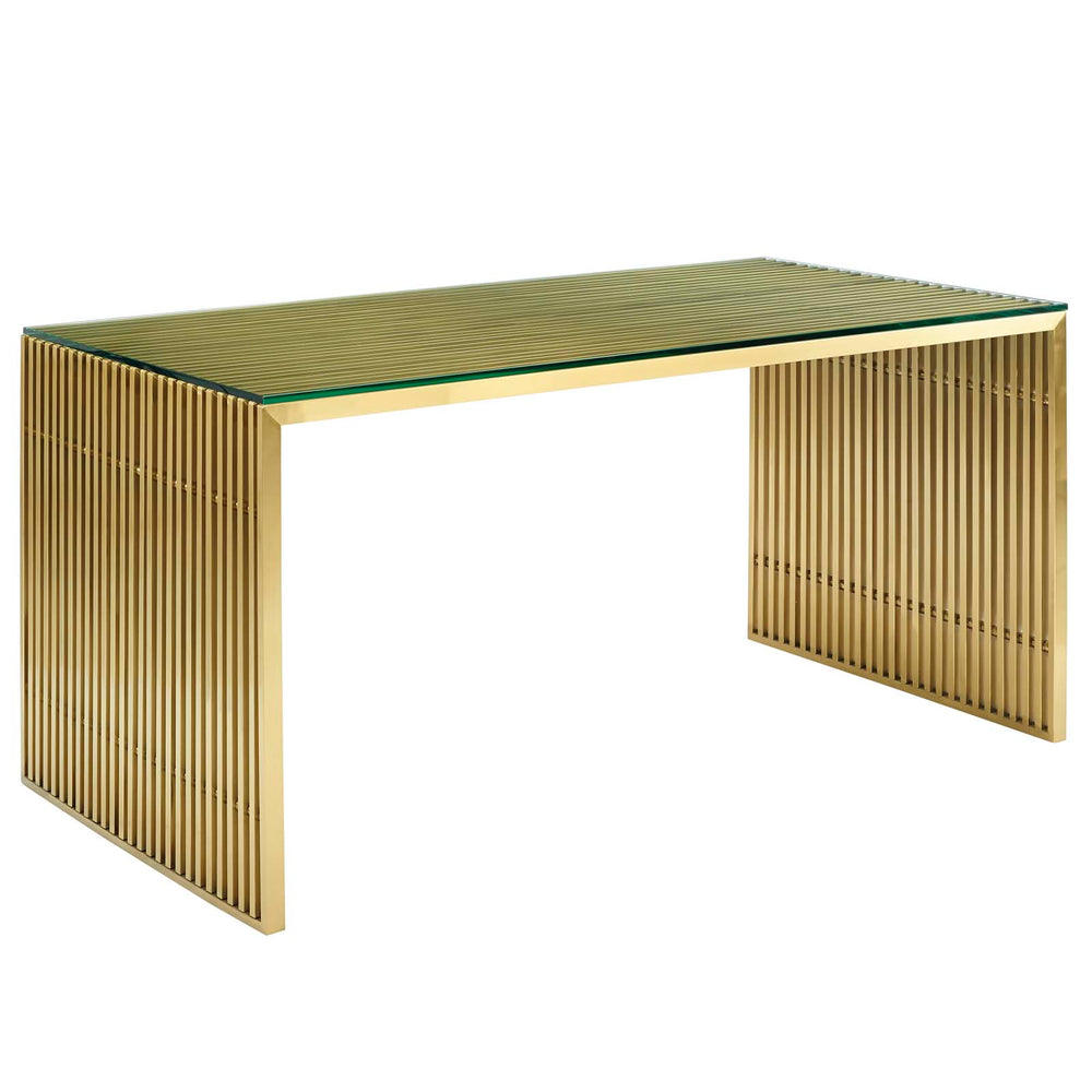 Modway Gridiron Stainless Steel Dining Table in Gold