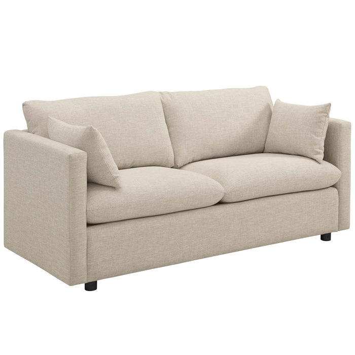 Modway Activate Upholstered Fabric Sofa in Beige