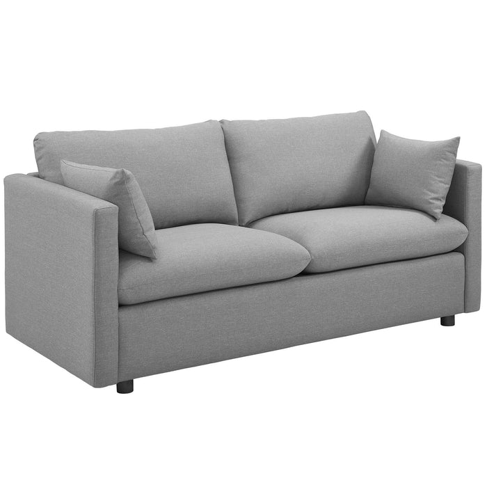 Modway Activate Upholstered Fabric Sofa in Light Gray