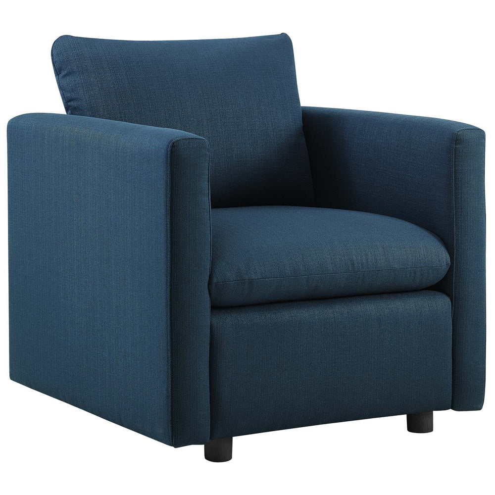 Modway Activate Upholstered Fabric Armchair in Azure