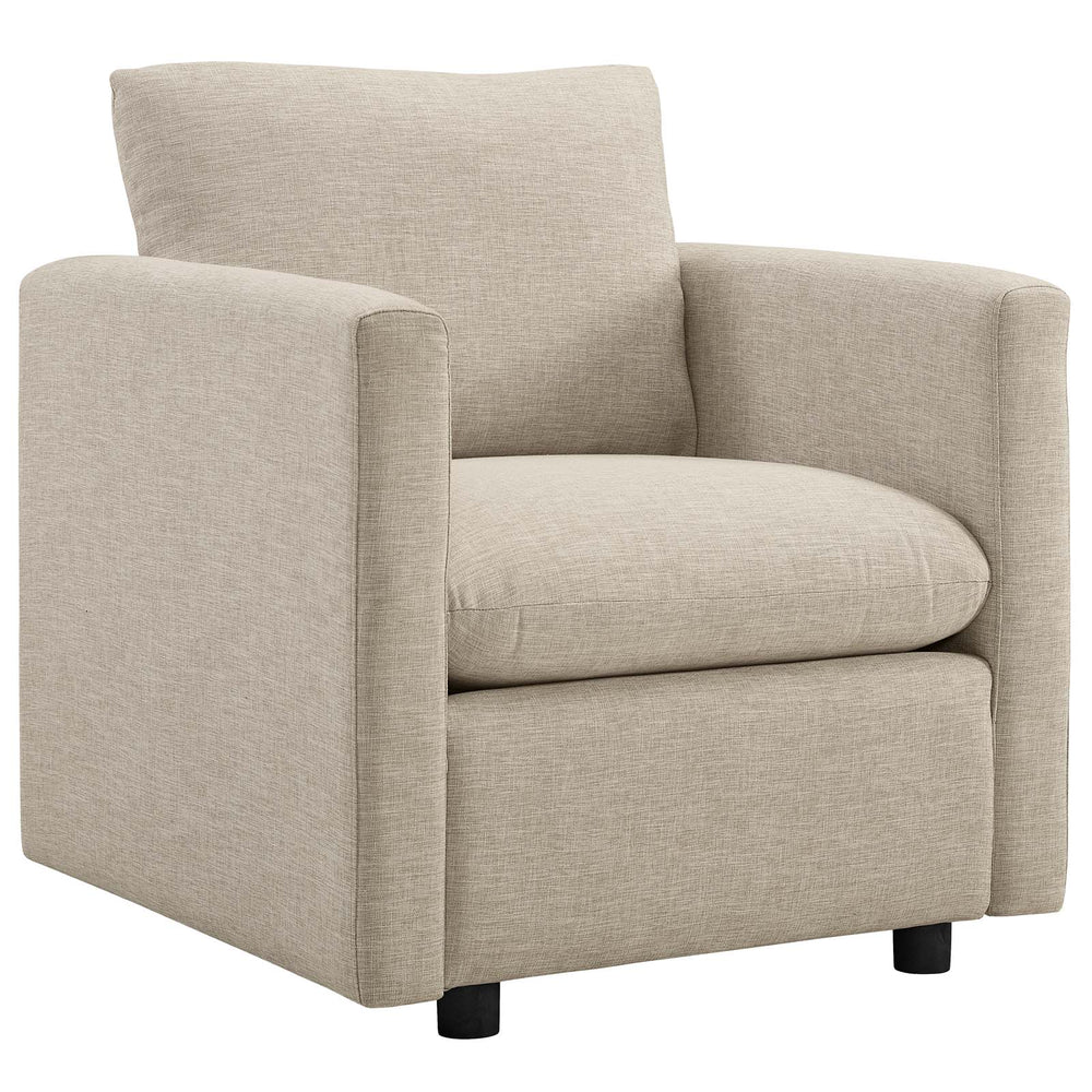Modway Activate Upholstered Fabric Armchair in Beige
