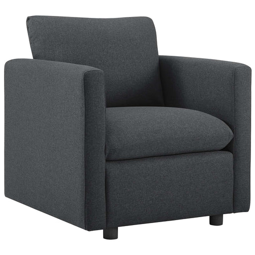 Activate Upholstered Fabric Armchair in Gray by Modway