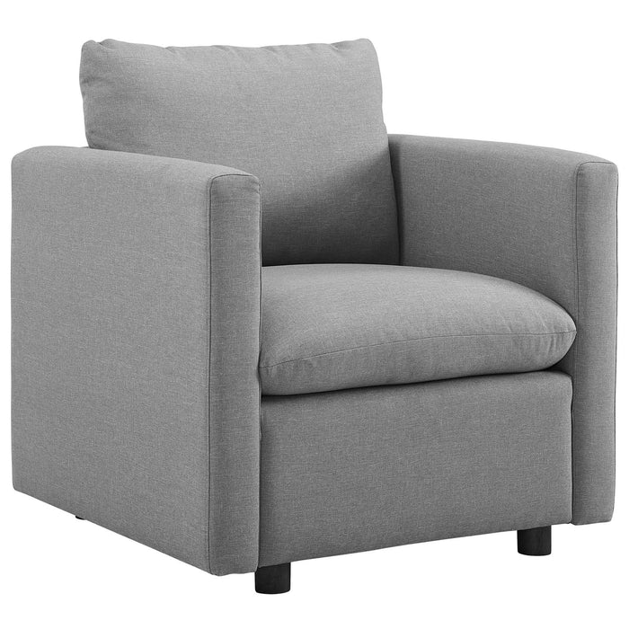 Modway Activate Upholstered Fabric Armchair in Light Gray