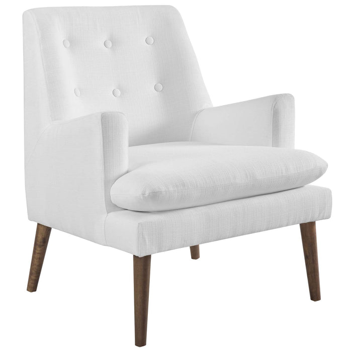 Modway Leisure Upholstered Lounge Chair in White