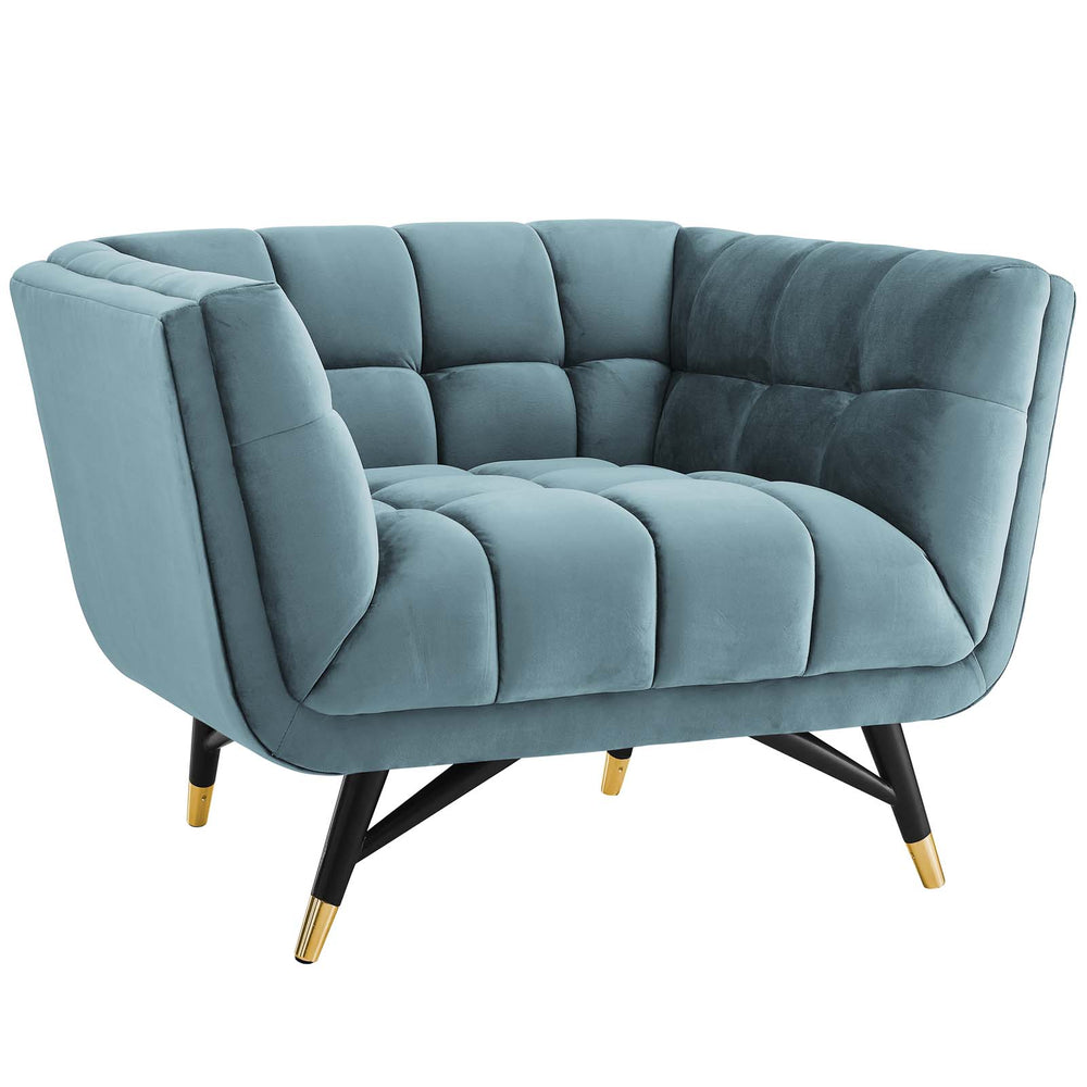 Modway Adept Upholstered Velvet Armchair in Sea Blue