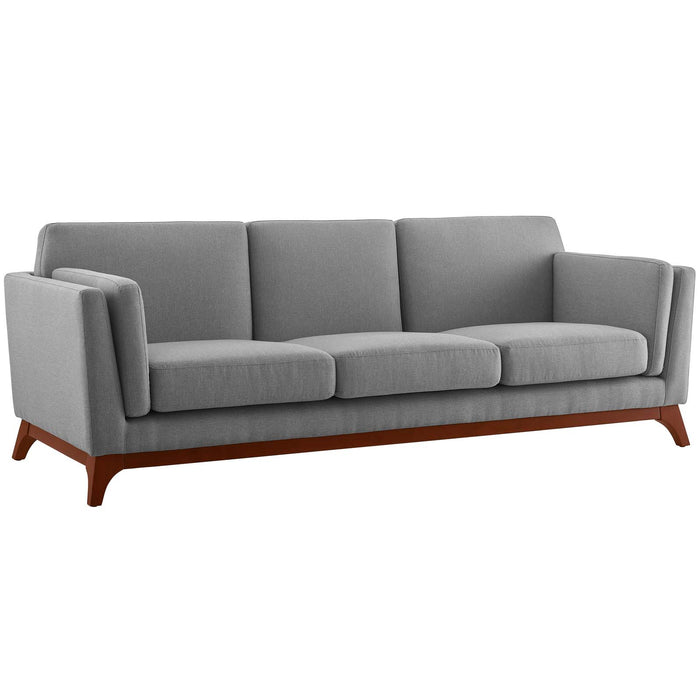 Modway Chance Upholstered Fabric Sofa in Light Gray