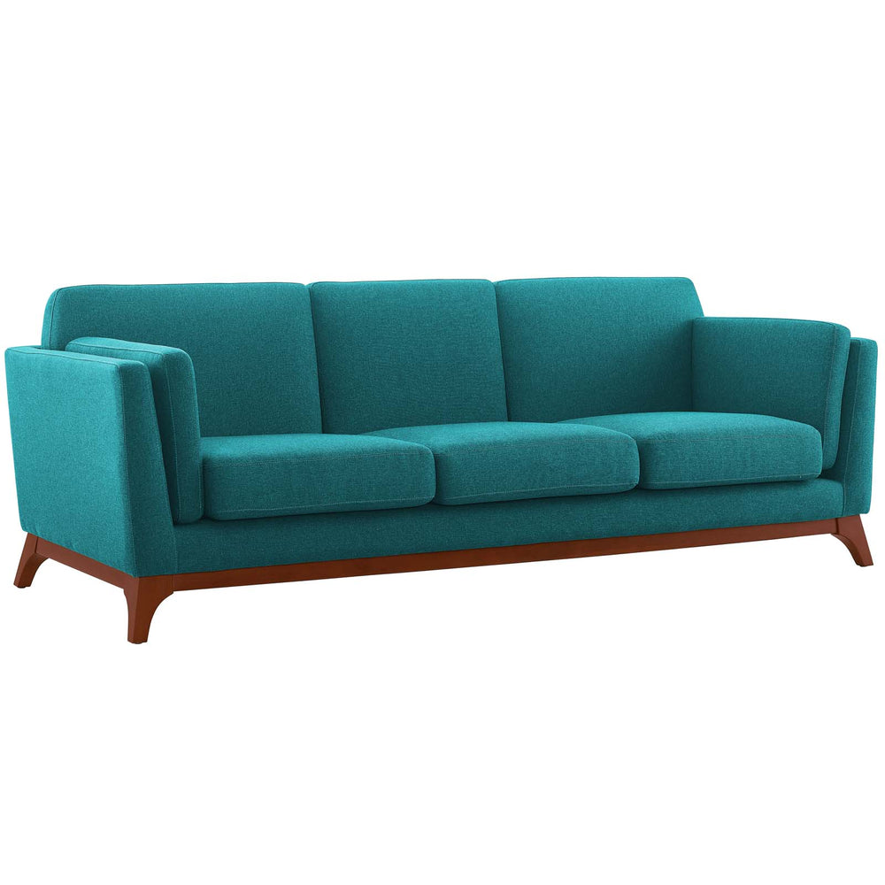 Modway Chance Upholstered Fabric Sofa in Teal