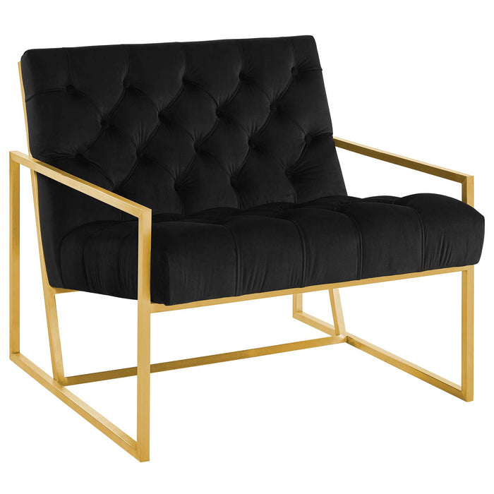 Modway Bequest Gold Stainless Steel Upholstered Velvet Accent Chair in Black